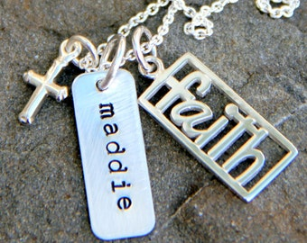 Faith Necklace- Sterling Faith Necklace - Confirmation - Love Hope Faith Jewelry - Religious Necklace - Bible Jewelry - Confirmation Gift