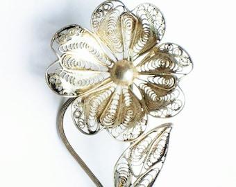 Vintage silver filigree brooch, flower brooch, lapel pin, floral brooch, 917 silver jewellery, silver brooch