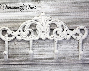 ANY COLOR Shabby White Hook Decorative Hook / Jewelry Hook / Coat hook / towel hook / bedroom decor/  bathroom decor / White Decor / Cottage
