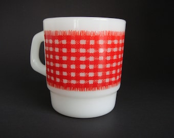 Vintage Fire King Red Gingham Mug - Anchor Hocking Mug