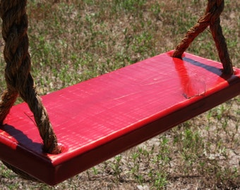 Wooden Red Tree Swing, Double Rope