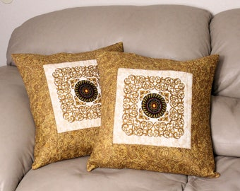 Quilted Throw Pillows - Set of TWO 18 inch Gold Filigree Decorative Throw Pillows, Holiday Pillows,  Quiltsy Handmade