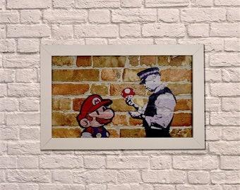 Industrial Naughty Mario White Frame Brick Wall Graffiti Style Artwork. Art. Steampunk & 3D Ceramic Brick Panels and Framed. UK MADE