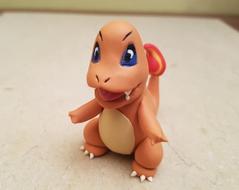 Pokemon charmander figurine, handmade Pokemon sculpture, original gift idea, Pokemon go, orange dino figurine, fire pokemon, polymer clay