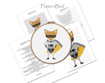 Superhero Fox. Instant Download PDF Cross Stitch Pattern