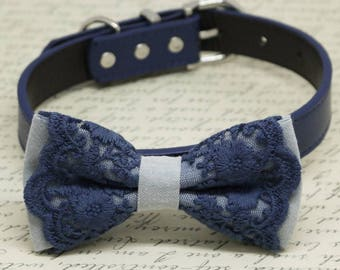 Gray Navy Lace dog bow tie collar, Pet wedding accessory, Puppy Love, Gifts