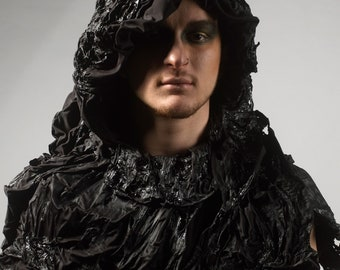 Handmade black evil costume cape cloak hood