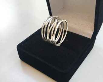 "Sterling Silver Wrap Ring - Six (6) Sterling Wrapped Bands- .5"" Thick 925 Sterling Silver Wrap Around Band"