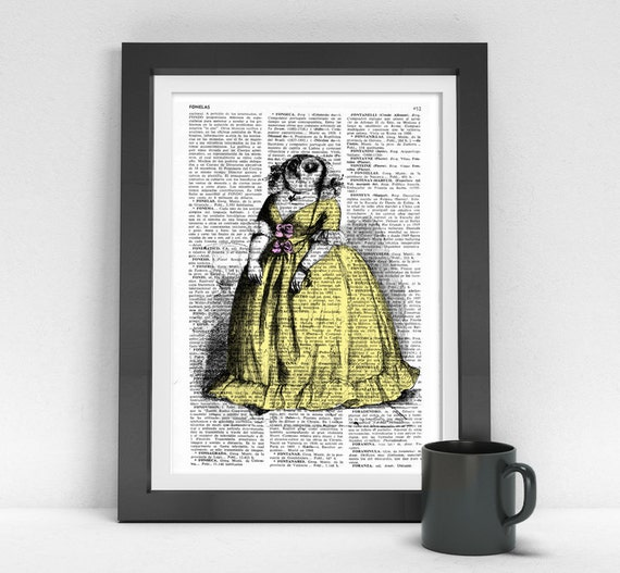 Madame 0wl Print on Vintage Encyclopedic Dictionary Book altered art dictionary page illustration book print art ANI033
