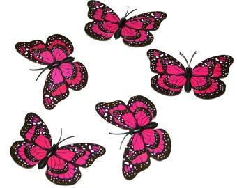 5 Pink Butterflies for Hair Pins, Favors, Hair Clips, Decor