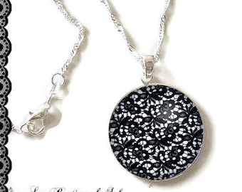 925 Sterling Silver Chain: 25 mm cabochon necklace * lace * (080218)