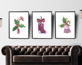 Christmas set of 3 prints, christmas decoration, holiday decor, minimalist print, watercolor christmas decor, christmas wall art