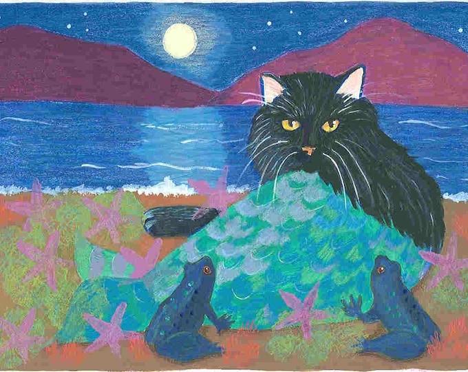 Black Cat Mermaid greeting card