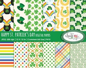 50%OFF St Patrick's Day paper, st patricks day paper, digital paper, horseshoe, shamrock, rainbow clipart, leprechaun, clover,lucky Irish cl