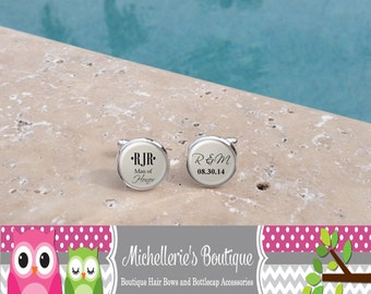 Personalized Man of Honor Cuff Links,Monogram Cuff Links, Best Man Cuff Links,Wedding Party Gifts,Mens Gift,Wedding Cufflinks
