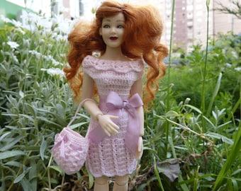 Dollhouse miniature dress and handbag for Heidi Ott doll