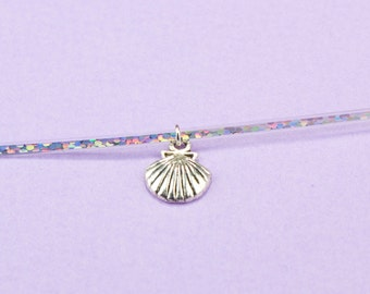 Mermaid Necklace Holographic Dainty Choker Silver Shell Charm Gifts for Girls Child Size Chokers