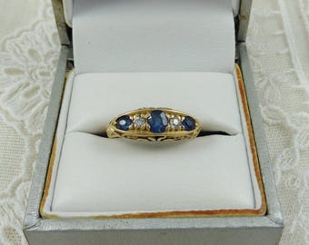 Gorgeous Antique 18ct Edwardian Sapphire And Diamond Ring.  sapphire ring. sapphire and diamond ring. Edwardian ring.  antique rings.