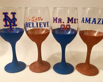NY Mets Wine Glasses