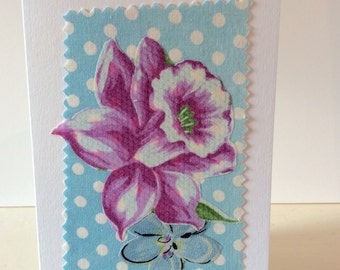 Hand made card, vintage fabric, blank card, any occasion card, vintage flower card, Spring flowers card, spotty card, purple flower card