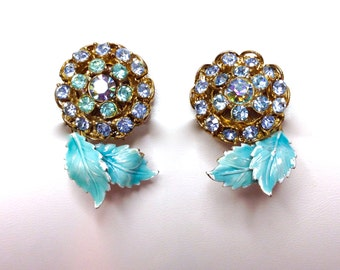 Rhinestone and Enamel Flower Turquoise Blue and Light Blue Earrings, Clip Back, 1950s Fabulous