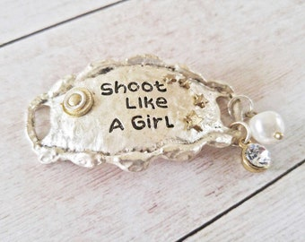 Quote Connector Pendant Word Pendant Link Shoot Like A Girl Pendant Antiqued Silver Large Band Freshwater Pearl Dangle