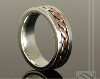 Life is Full of Twists - Silver and Copper Wedding Band - Mixed metal