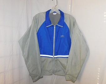 Vintage Lightweight Bill Rodgers Track Jacket Gray & Blue Vented Mens Small