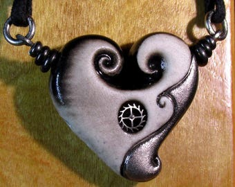 Heart of the Sea with White Gold and Clock Gear. Necklace. One of a Kind