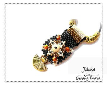 Beading Pattern, Instructions, Tutorial, Peyote Stitch, Layered Squares, African, Tribal, Square Pendant Instant Download Pattern JALUKA