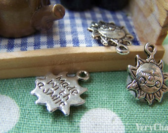 30 pcs Antique Silver Lovely Sun Face Charms 15mm A6580