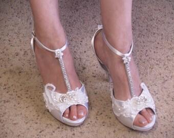 Size 10 White Wedding Heels Marie Antoinette Modern Version,Satin Platform Peep Toe T-Strap High Heels, Bling, Great Gatsby,Ready to Ship