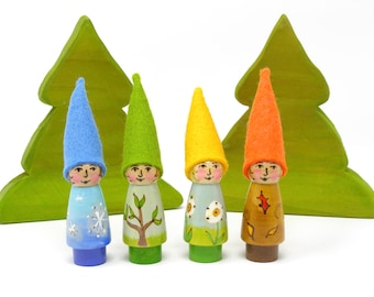 Seasonal Gnomes Set of 4 figures, Wooden peg doll, Waldorf inspired, educational toy, gnome toy, gnome peg doll, kids toy, handmade kids toy