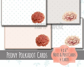 Printable Peony Note Cards - 4x6 Peony Notecards - Flowers on Mint, Grey, Peach Polkadot Papers - Framed DIY Postcards - Snail Mail Postcard