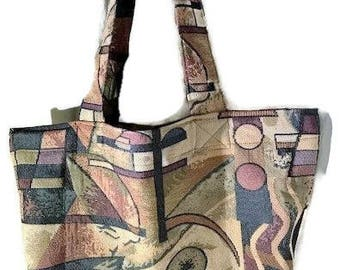 Fabric Grocery Bag Carry All Tote Bag Heavy Duty Upholstery