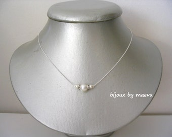 wedding jewelry bridal necklace ivory pearls and rhinestones on silver chain