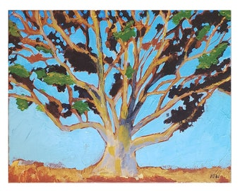 Golden Eucalyptus Tree  - Original Wall Art,  11x14 inches, California art landscape, tree, branches acrylic