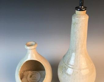 olive oil cruet, oil bottle, speckled white, pottery,