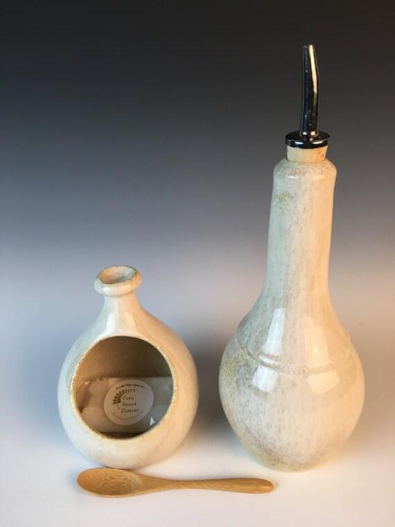 Olive Oil Cruet in Speckled White glaze