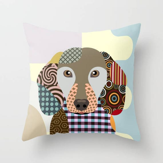 Dachshund Pillow, Dachshund Gift,  Dachshund  Art Print, Dachshund Decor,  Dog Lover Pillow,  Dachshund Throw Pillow, Dog Throw Pillow