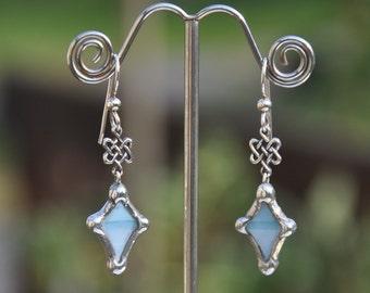 Celtic knot blue diamond earrings