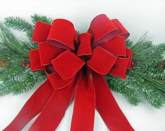 christmas wreath bow wreath bows christmas bows christmas tree bows christmas decor bow holiday bow red velvet bow berry red wreath bow - Red Christmas Bows