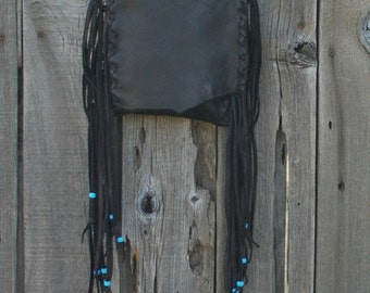 Leather handbag with fringe , Soft brown crossbody phone bag , Small brown purse