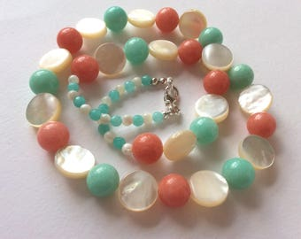 Aqua and Coral Jade and Mother of Pearl Gem Bead Necklace