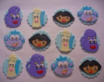 12 DORA the EXPLORER Edible Fondant Cupcake Toppers