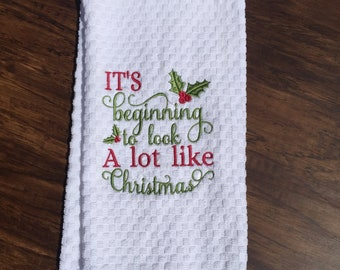 It's beginning to look A lot like Christmas Hand Towel