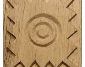 Oshiwa Carved Wood Printing Stamp, Tribal Design, 2.5''x 2.5'', Item 11-7-18