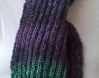 Scarf wool/silk, purple and green colors