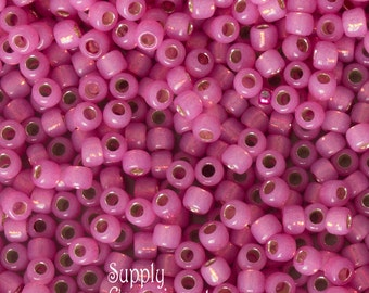 6/0 Toho Seed Beads - 16 gram Tube - Toho 6-2106 Silver Lined Milky Mauve - 3458 - Milky Mauve 6/0 Toho Silver Lined Seed Beads