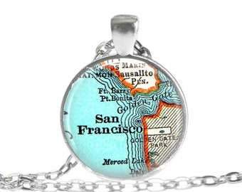 Wife Birthday Present, Mom Gift San Francisco, California necklace, travel map jewelry, photo gift, mom Birthday Gift, Travel Gift